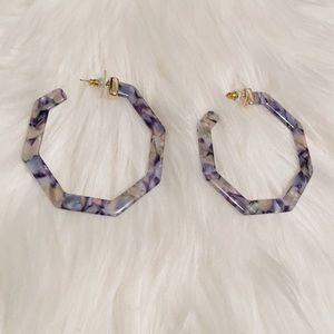 NEW Blue Speckled Octagon Hoop Big Earrings